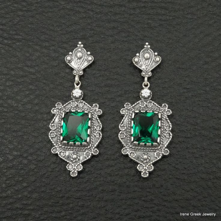 BIG EMERALD CZ ETRUSCAN STYLE 925 STERLING SILVER GREEK HANDMADE ART EARRINGS #IreneGreekJewelry #DropDangle