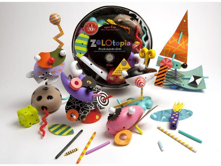 Zolo Zolotopia. Set 67 barevných plastových dílků, které lze různě skládat a kombinovat