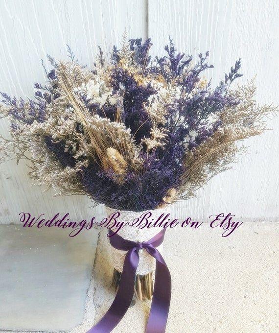 Purple Wildflower Dried Flower Bouquet Lavender Wheat Caspia Etsy Flowers Bouquet Dried Flower Bouquet Alternative Bouquet