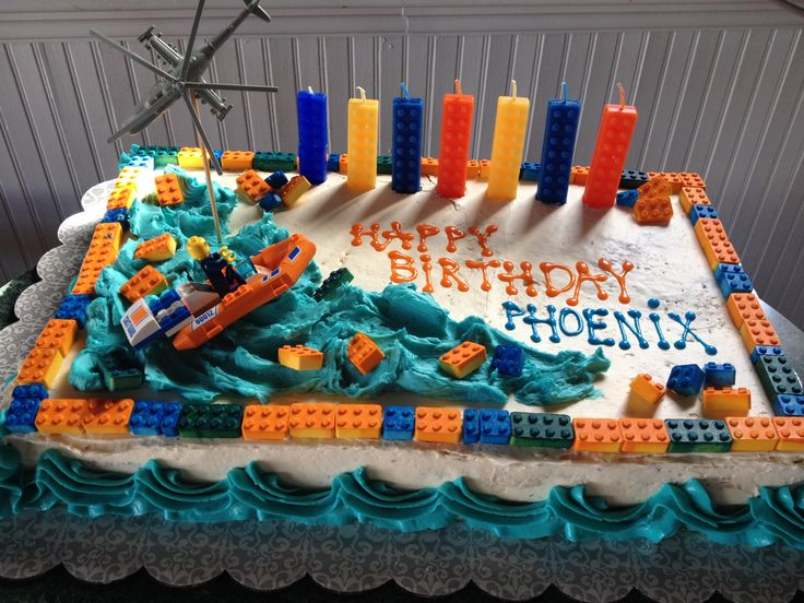 Lego coast guard cake for a boy
