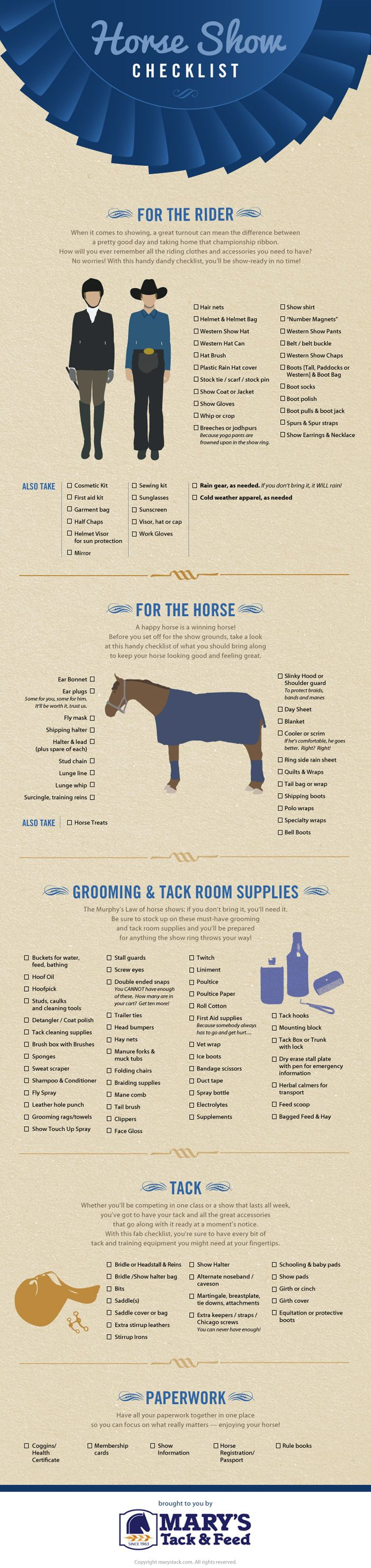 Horse Show Checklist: What You Need for a Horse Show -- Check out this #infographic #design from Mary's Tack & Feed and see if you have everything you need.