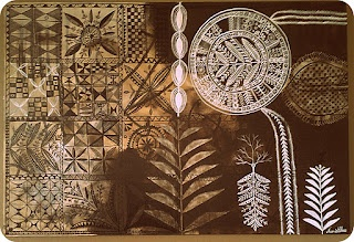 Hiapo painting by NZ / Cook Island artist Naomi Chase.