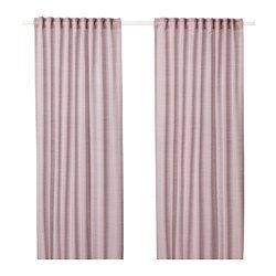 IKEA - HILJA, Curtains, 1 pair, , The curtains let the light through but provide privacy so they are perfect to use in a layered window solution.The curtains can be used on a curtain rod or a curtain track.The heading tape makes it easy for you to create pleats using RIKTIG curtain hooks.You can hang the curtains on a curtain rod through the hidden tabs or with rings and hooks.