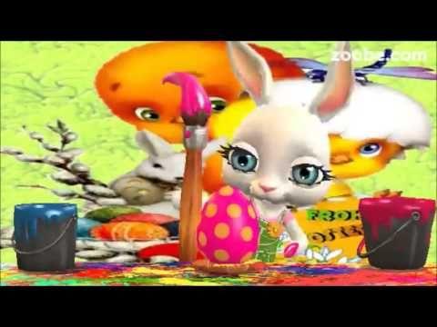 Frohe OsternHasenfrau bemalt die Eier rot und blauOsterhase, Zoobe, ...