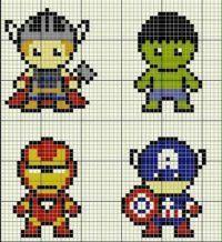 Gráficos Ponto Cruz Super Heróis Infantis