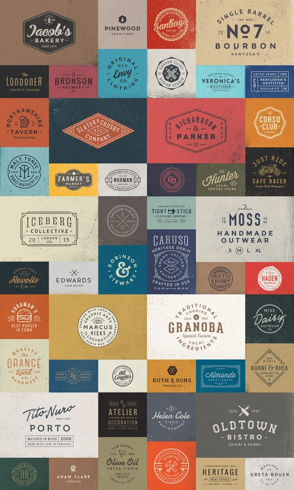 The 50 Logo Templates Bundle from GraphicBurger includes stylish vintage inspired graphics, logos, and marks.