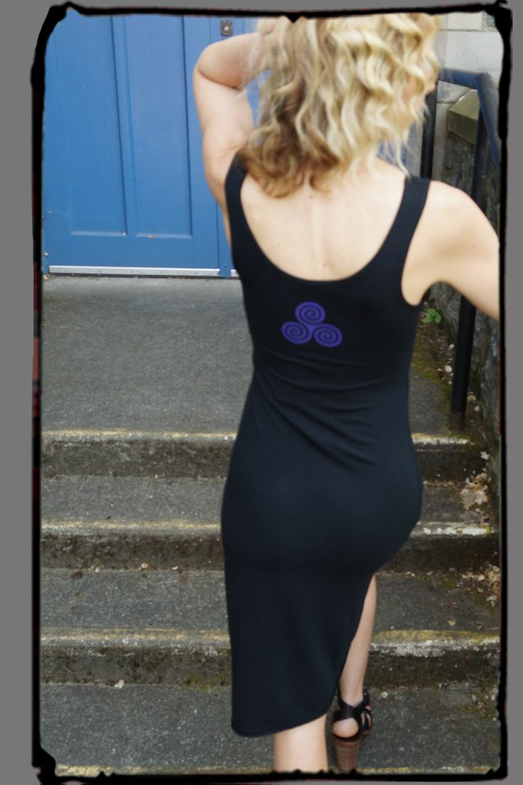 Black Bamboo Dress from Squeezed Yoga Clothing. You'll Love it ! http://squeezed.ca/shop/black-bamboo-a-line-dress-with-violet-triple-goddess