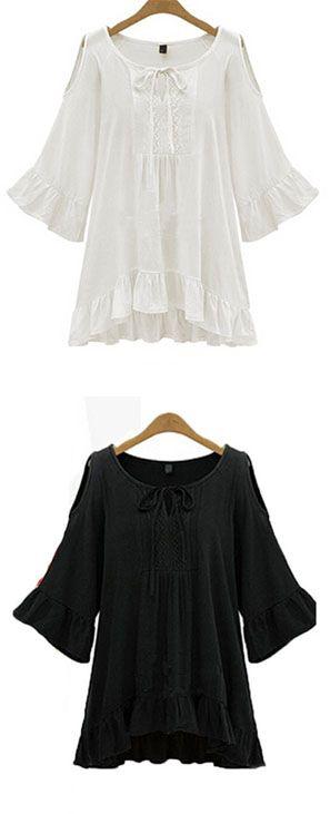 Women's Ruffle Sexy Casual Cute Plus Sizes Micro Elastic ½ Length Sleeve Regular Shirt