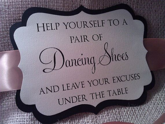 ornate wedding sign for your flip flop basket dancing shoes