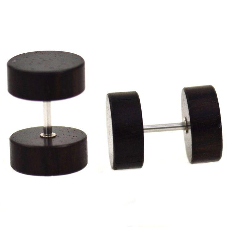 BodyDazz.com - Ebony Color Wood Fake Plug Earrings (00g Look)