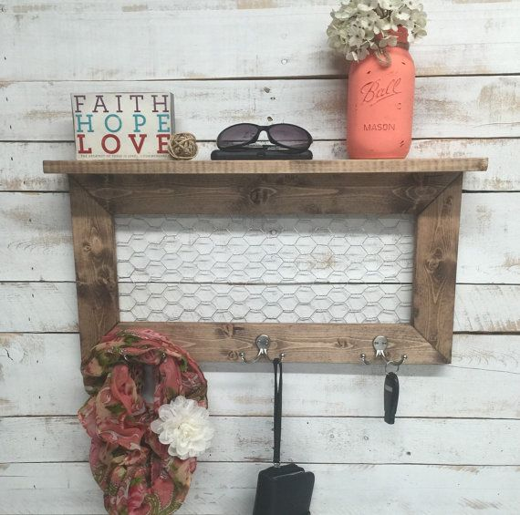 Rustic Shelf entry way shelves chicken wire by countrycornergoods