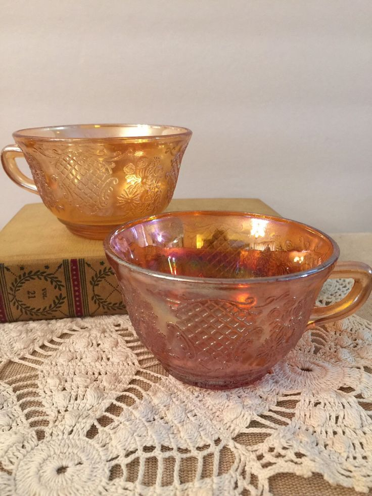 A personal favorite from my Etsy shop https://www.etsy.com/listing/265752601/carnival-glass-punch-cups-marigold-set