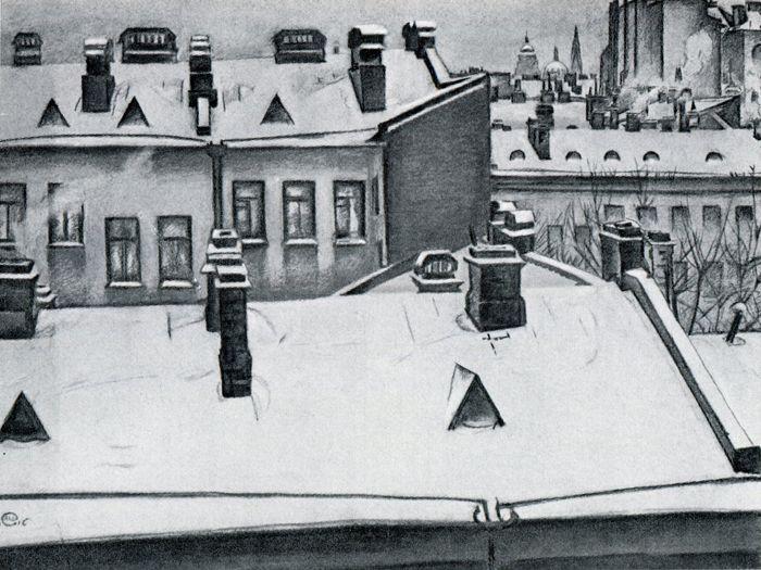 Мстислав Добужинский. Петербург. Крыши в снегу