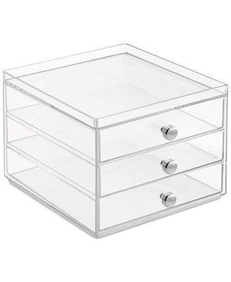 Interdesign Slim 3-Drawer Makeup Organizer, Clear - Storage & Organization - For The Home - Macy's