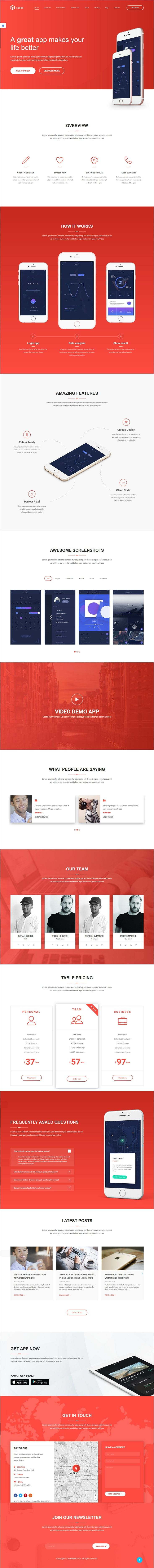 Faded is a clean and modern design #bootstrap template for #startups mobile #apps, saas applications, software, digital products, even books landing page website with blog download now➩ https://themeforest.net/item/faded-app-landing-page-template-with-blog/18402869?ref=Datasata