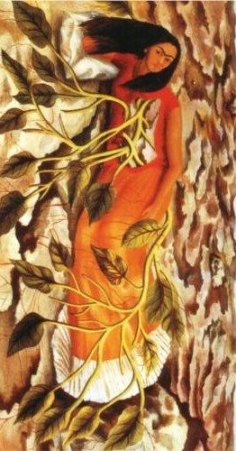Surrealist Mexican painter Frida Kahlo de Rivera (1907 – 1954) | Roots (Rotate) - 1943