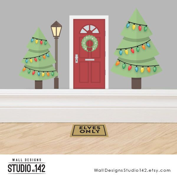 Christmas Elf Door Accessory Set #1 - A set of three decals made from reusable vinyl by WallDesignsStudio142 on Etsy https://www.etsy.com/listing/488770205/christmas-elf-door-accessory-set-1-a-set