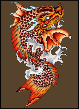 I like this color ... grey water and a colored koi dragon. My koi dragon will be green (towards the head) and orange/red.