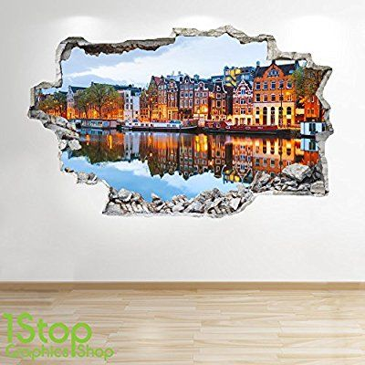 AMSTERDAM WALL STICKER 3D LOOK - BEDROOM LOUNGE CITY WALL DECAL Z194 Size: Large