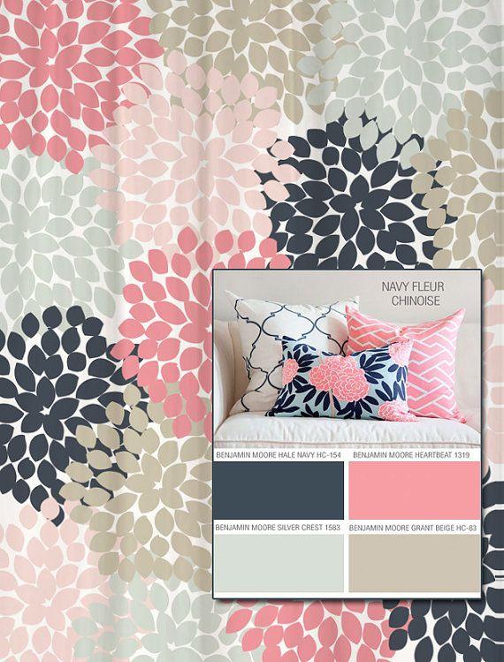 La ducha cortina en azul marino y rosa Floral estándar y Extra largo longitudes 70 74, 78, 84, 88 vamos a hacer uno de tus colores!