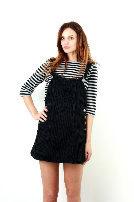 b2e63f4ca55 Vintage 90s Corduroy Overall Dress   90s Grunge Dress   Black Corduroy Dress    Pinafore Dress   Mini Dress   Size M