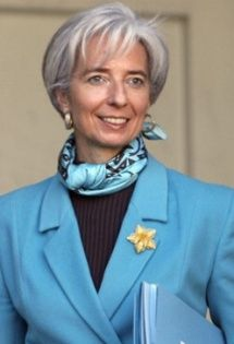 christine lagarde scarves  - smashing Winter with high contrast black top and cool blue jacket.