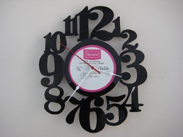 vinyl record clock (artist is Pete Fountain).