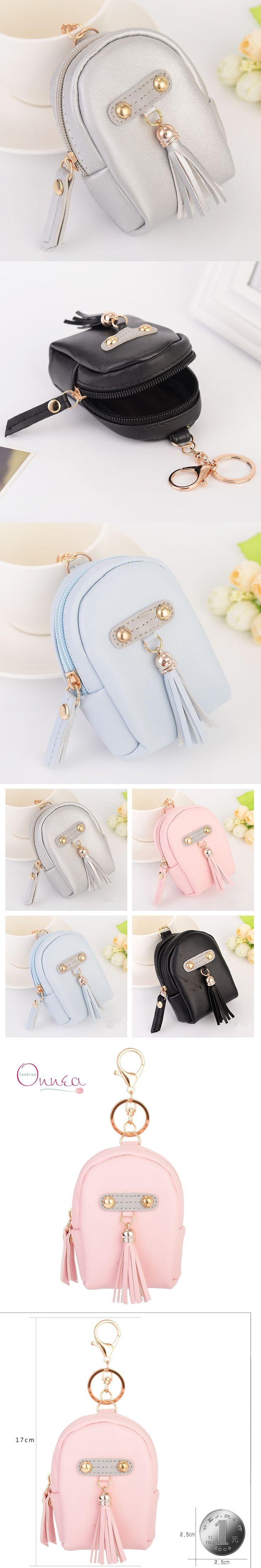 Onnea Fashion Women Mini Bags Tassel Keychain PU Leather Backpack Coin Wallet Handbag Charms key chains Car keychain Accessories