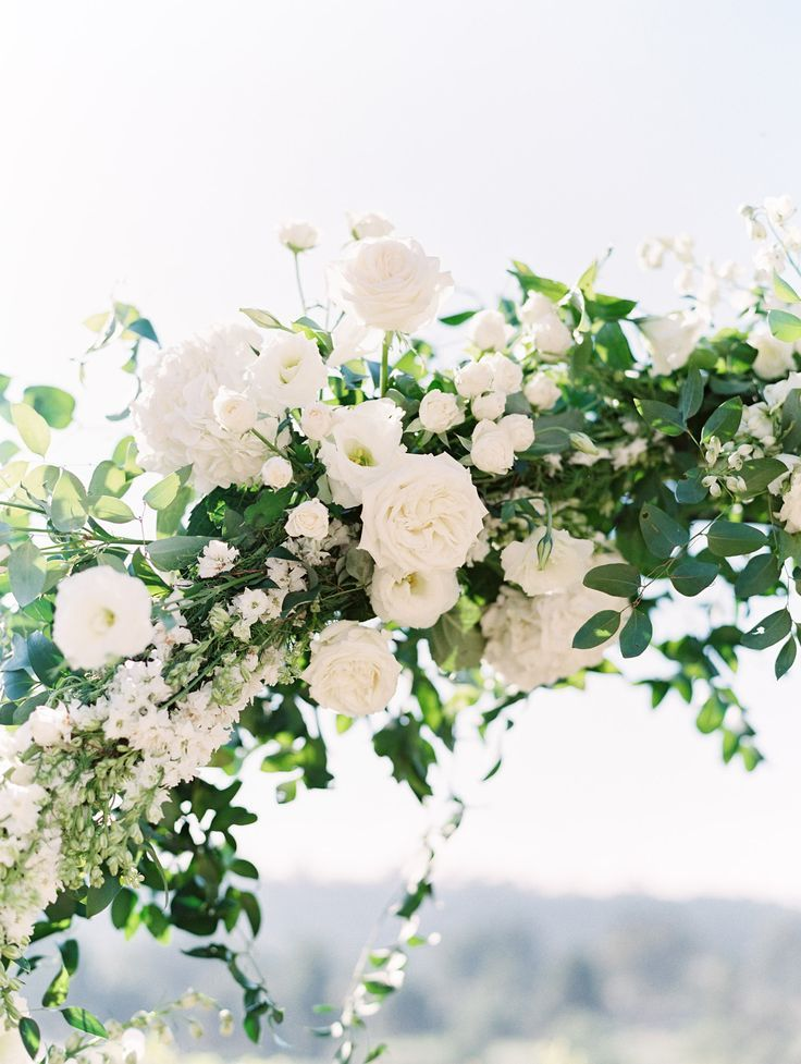 White Rose And Delphinium Covered Wedding Arch Del Mar Country Club Compass Floral Wedding Florist Wedding Arch Flowers Wedding Arch Country Club Wedding