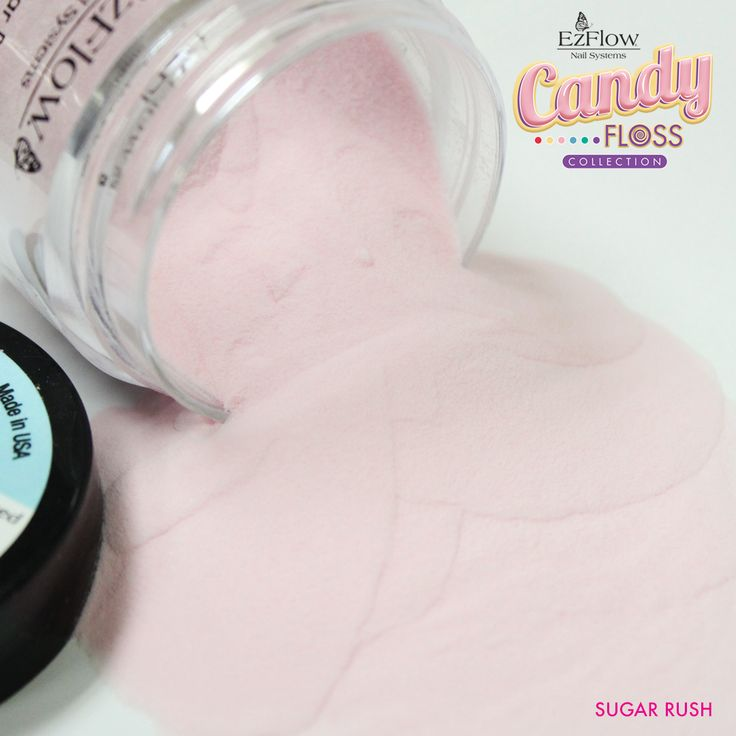 Make your clients' manicures even sweeter with Sugar Rush, a lightly spun pink sugar color from the Design Colored Acrylic candyFLOSS collection. #ezflowcandyfloss  The collection is available now at professional beauty supply stores.  #ezflow #ezflownailsystems #ezflowacrylic #manicure #nails #pink