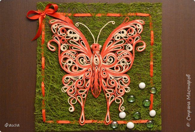 Картина панно рисунок Аппликация Бабочка Ну куда же без них Шпагат фото 1