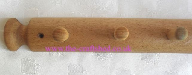 Quirky BEECH COAT HAT HANGER made from recycled ROLLING PIN Ideal Gift £7.99