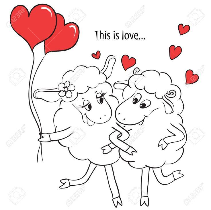 Пара в любви мультфильм Две милые очарован овец с красными сердцами на качелях идея для открытки с Днем свадьбы или день Святого Валентина Векторные иллюстрации каракули Клипарты, векторы, и Набор Иллюстраций Без Оплаты Отчислений. Image 30684500.