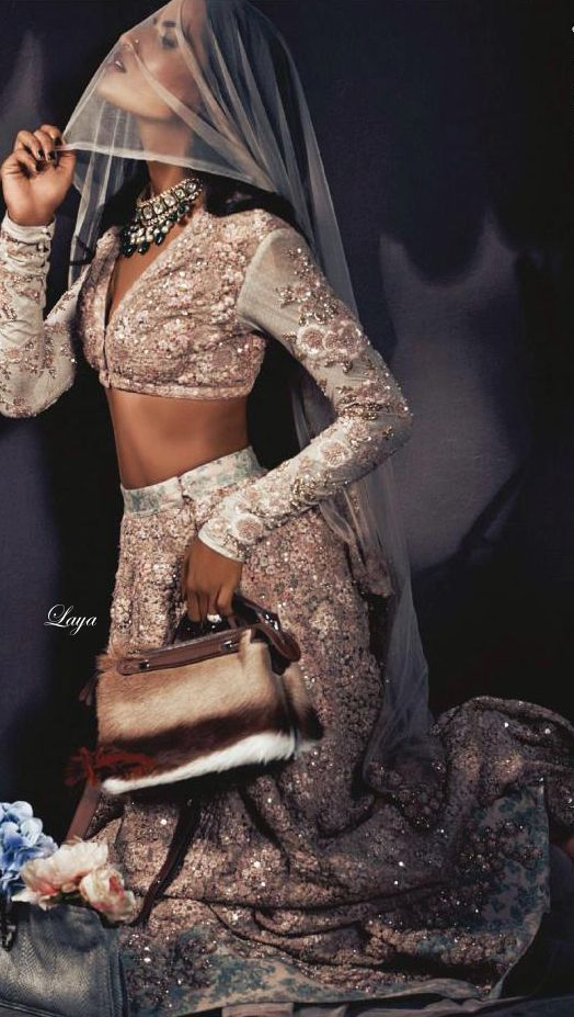 Embellished Sabyasachi #Lehenga Featured On Harper's Bazaar Bride India December 2014.