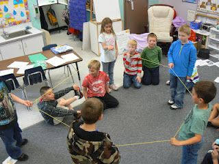 Making 2D shapes with yarn, string or elastic.  The kids use their fingers to create the corners.  I've done this with a math class with huge success!
