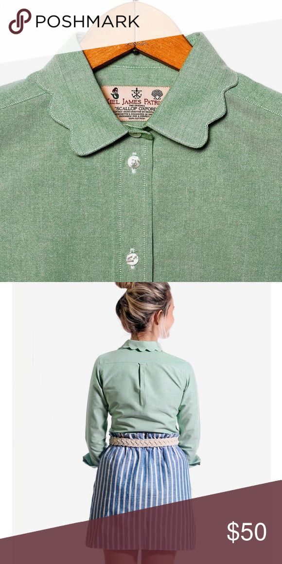 KJP Women's Scalloped Oxford Shirt NEVER WORN!! KIEL JAMES PATRICK WOMEN'S SCALLOPED OXFORD IN GREEN!   Adorable cut and quality American-made product.   Coming from a Smoke Free/Pet Free Household  100%Cotton Kiel James Patrick Tops Button Down Shirts