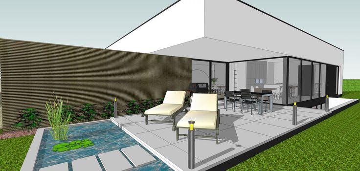 Het betreft een strakke, hedendaagse, vrijstaande woning waar de stedenbouwkundige voorschriften ervoor gezorgd hebben dat de woning afgewerkt wordt met een plat dak. Om zo weinig mogelijk inkijk te hebben op de omliggende percelen, wordt gewerkt met een gelijkvloerse verdieping en een leefkelder. Om licht binnen te trekken op de kelderverdieping, waar kamers en een bureau zijn ondergebracht, wordt gewerkt met patio's aan voor-en achtergevel. De woning is voorzien van een overdekt terras en…