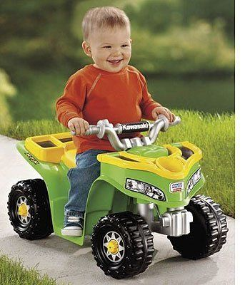 Power Wheels Sport Quad by Mattel. $149.99. Sporty ATV styling meets toddler-friendly features with the Fisher Price Power Wheels Lil' Kawasaki ride-on for little drivers. Push-button operation makes it easy for them to stop and go. Built-in footrests provide a safe, comfortable ride and ATV styling makes it easy for them to climb on and off all by themselves. A covered front-end storage compartment with a cup holder lid lets children bring their treasures and refreshments alon...