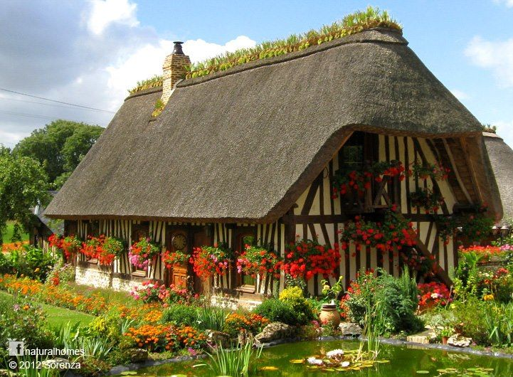 This Is A Chaumière (cottage) Near Rouen In France. Traditionally The  Thatched Roof