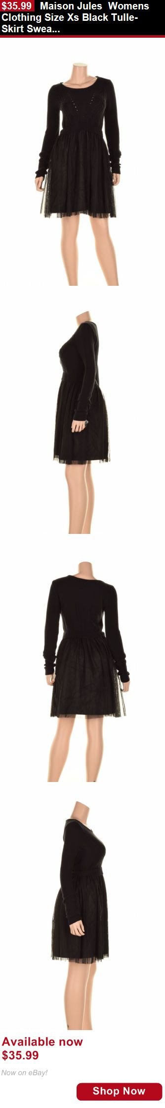 Women vintage reproductions: Maison Jules Womens Clothing Size Xs Black Tulle-Skirt Sweater Dress New BUY IT NOW ONLY: $35.99