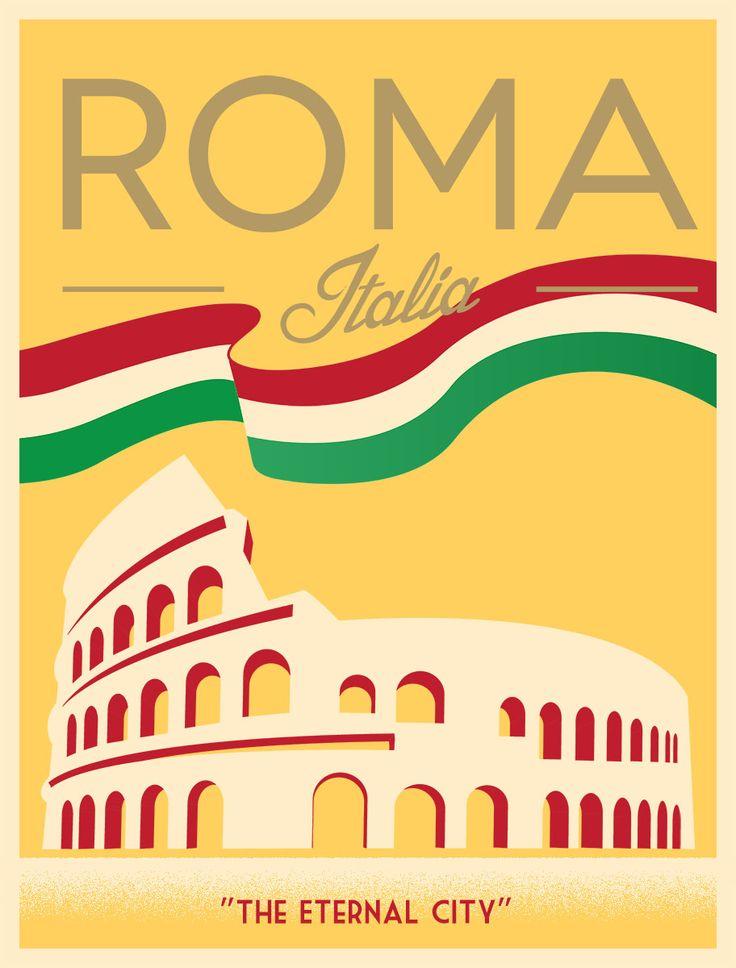 Vintage Italian Posters ~ #illustrator #Italian #posters ~ Retro poster of Rome