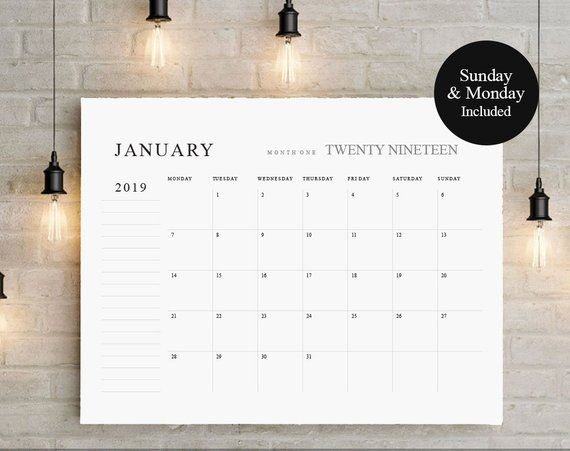 2020 2021 Big Calendar Large Wall Calendarprintable Etsy Large Wall Calendar Big Calendar Calendar Printables