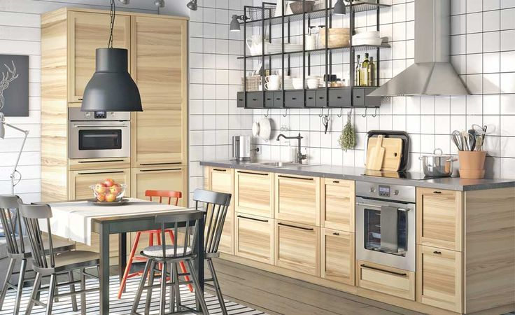 A kitchen fitted with Torhamn doors from Ikea
