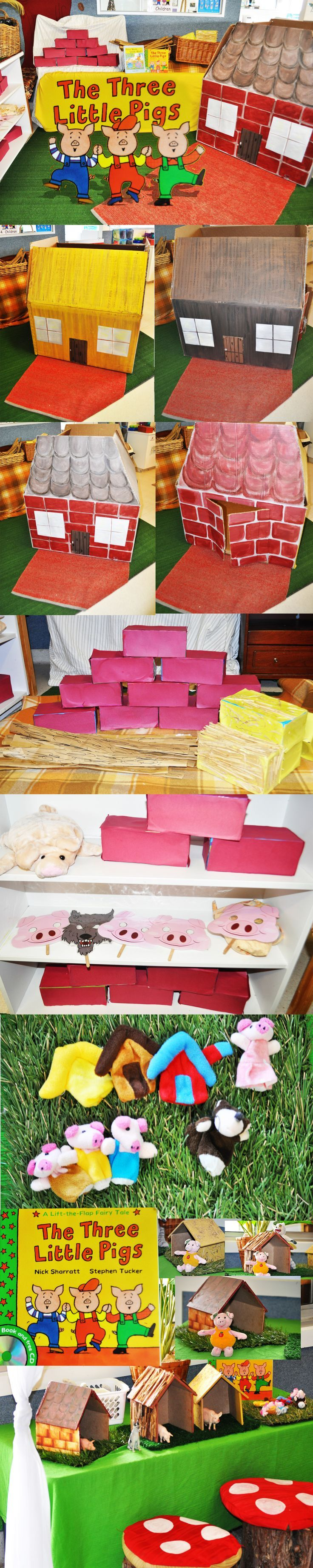 The Three Little Pigs Story comes to life through life size props and puppets. After reading the Three Little Pigs Book by Nick Sharratt and Stephen Tucker, we turned a cardboard box into the house of straw, sticks and bricks. Stuck red paper to tissue boxes for the bricks, Yellow paper and hay for the straw and rolled up brown paper for the sticks. I bought puppets from Ebay and we made little wooden houses for a table activity. Now the children can explore the world of the 'Three Little Pi