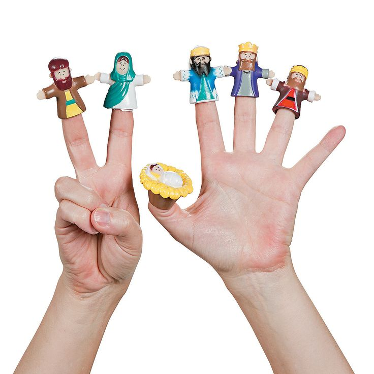 Nativity Finger Puppets - OrientalTrading.com | 4 sets of 6 for $6.50. Would be great for Early Childhood class.