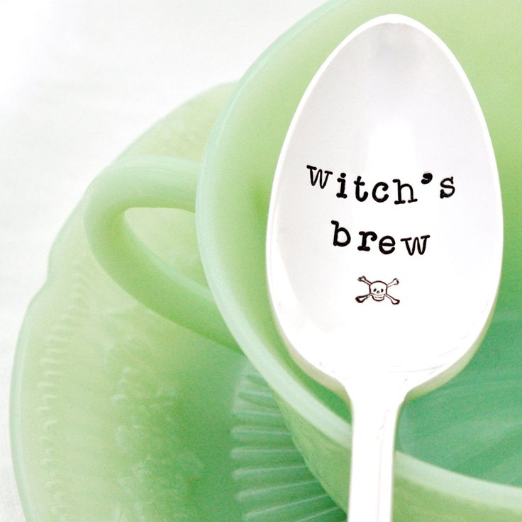 Spook-ify your spoons with this vintage hand-stamped piece from Milk and Honey luxuries. Use it to stir your brew in the morning...or whenever you partake. Available on eBay. $16. #coffee #halloween