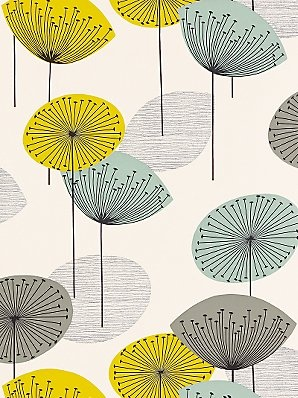 """Sanderson wallpaper - Dandelion Clocks (in blue/green - also available in plum/yellow and red/gray."