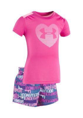 Under Armour  2-Piece Ua Heart Shirt And Short Set - Pink - 18 Months