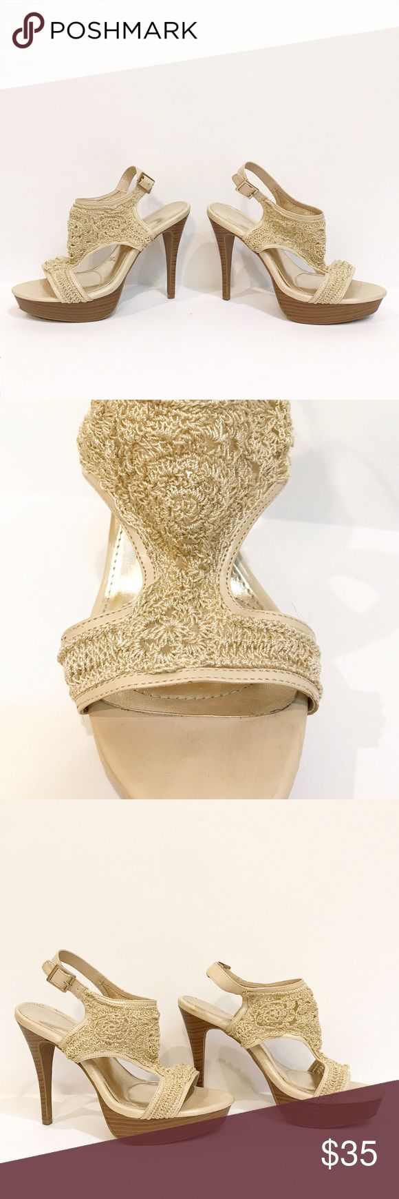 Sofia by Sofia Vergara - Jessica Crochet Heels These ivory colored heels have a crocheted upper with a buckle closure. Open toe sandal heels. Worn only a few times, see 6th photo for condition of soles.   Front Platform: 1.5 inches Heel Height: 5 inches Sofia Vergara Shoes Heels