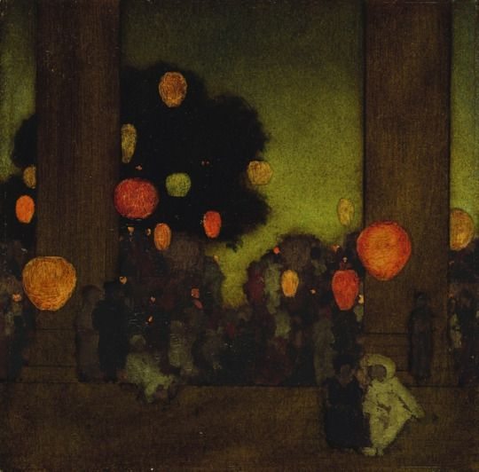 Lanterns at twilight, Maxfield Parrish. (1870 - 1966)